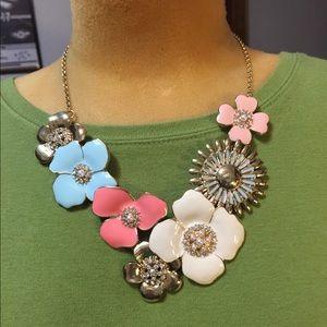 Enameled flowers & rhinestones necklace